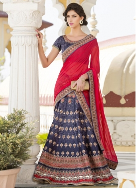 Mesmerizing  Silk Digital Print Work Navy Blue and Red A - Line Lehenga