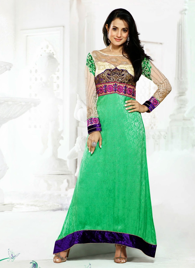 Mint Green And Cream Color Amisha Patel Bollywood Suit