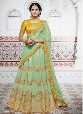 Mint Green and Mustard Designer A Line Lehenga Choli