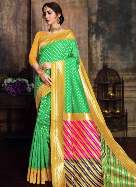 Mint Green and Mustard Designer Traditional Saree