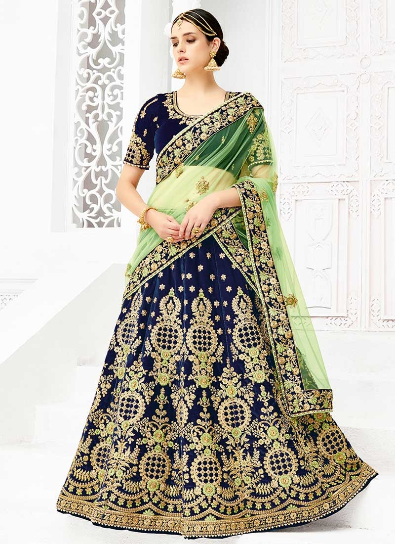 Shop Mint Green And Navy Blue A Line Lehenga Choli For Bridal Online