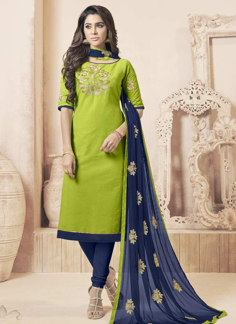 Buy Mint Green And Navy Blue Churidar Salwar Suit For Ceremonial Online