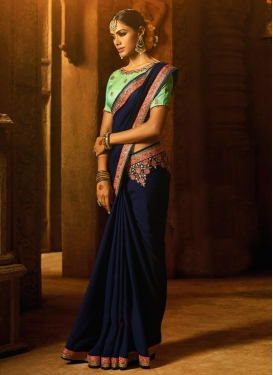 Mint Green and Navy Blue Classic Saree For Ceremonial