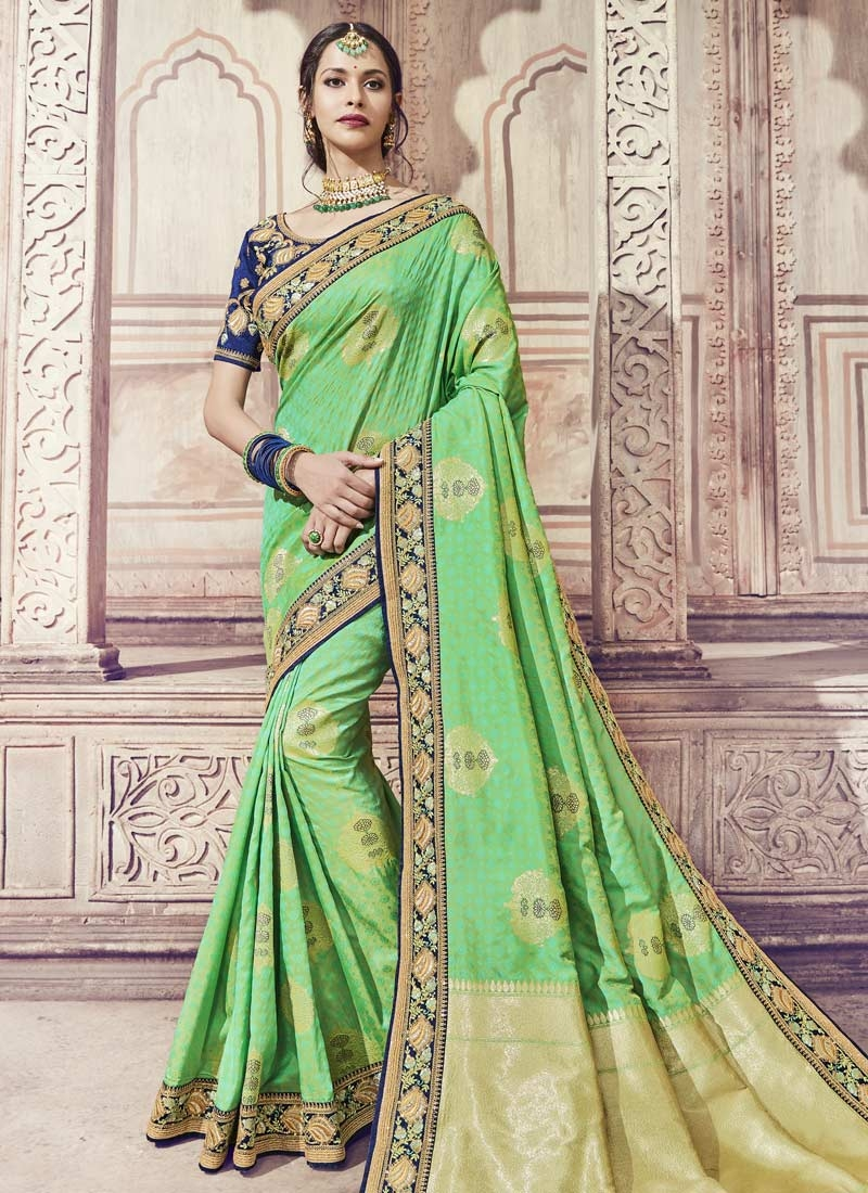 Buy Mint Green And Navy Blue Classic Saree For Partyonline