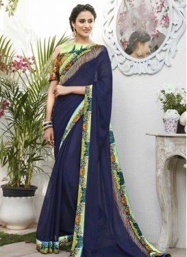 Mint Green and Navy Blue Faux Chiffon Designer Contemporary Style Saree