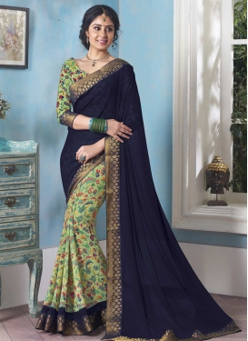 Mint Green and Navy Blue Half N Half Designer Saree For Ceremonial