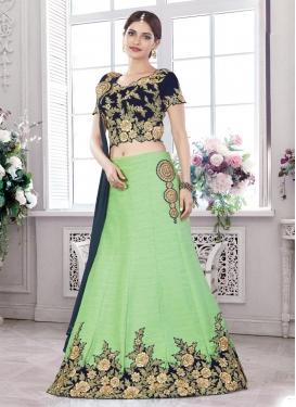 Mint Green and Navy Blue Silk Designer A Line Lehenga Choli For Festival