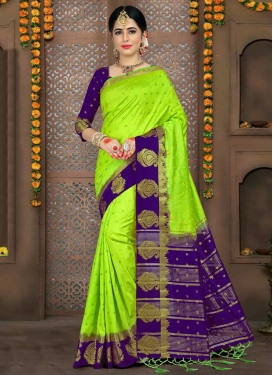 Mint Green and Navy Blue Thread Work Trendy Saree