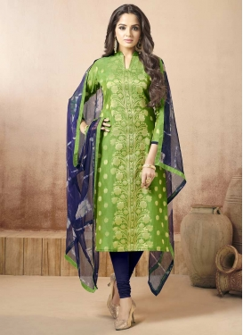 Mint Green and Navy Blue Trendy Churidar Salwar Kameez For Ceremonial