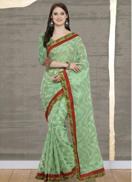 Mint Green and Off White Lace Work Trendy Classic Saree