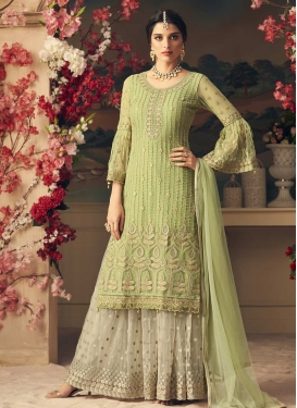 Mint Green and Off White Sharara Salwar Kameez For Ceremonial