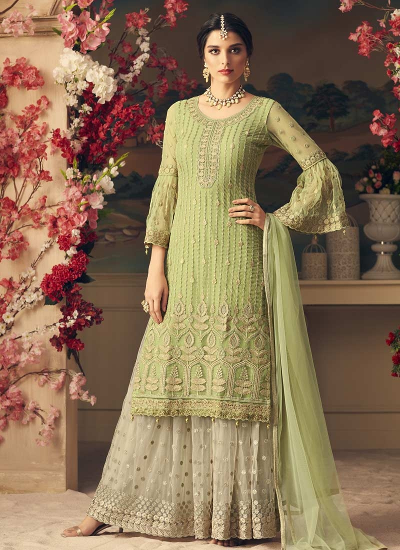 7fe3565e75 Buy Mint Green and Off White Sharara Salwar Kameez For Ceremonial Online