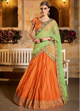 Mint Green and Orange Net Trendy A Line Lehenga Choli For Ceremonial