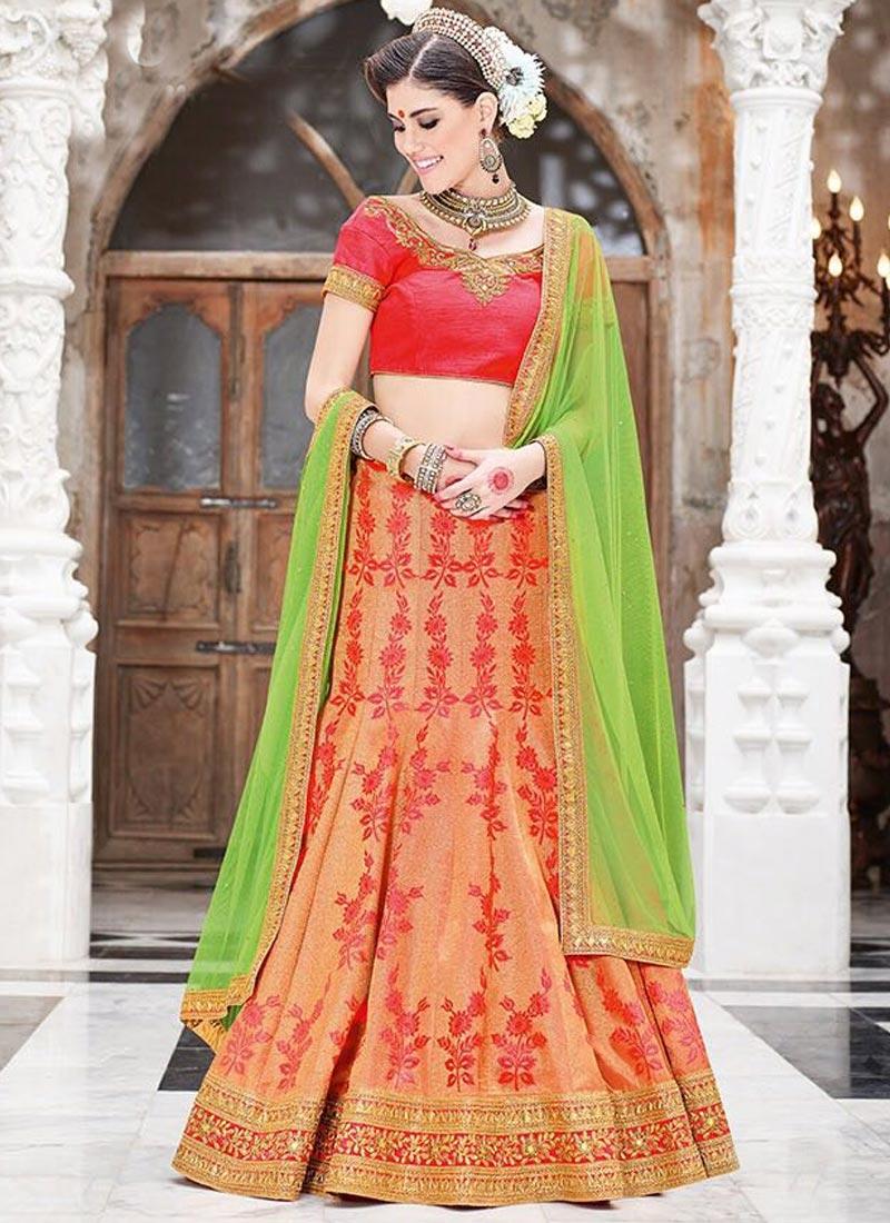a8155c37c2 Mint Green and Peach Fancy Fabric Trendy Lehenga Choli