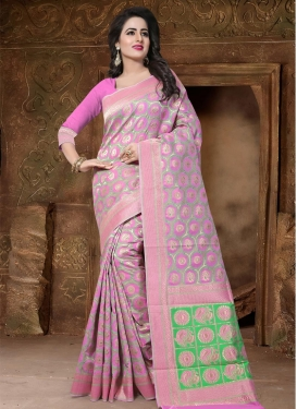 Mint Green and Pink Contemporary Saree For Festival