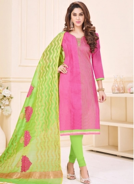 Mint Green and Pink Cotton Churidar Salwar Kameez For Ceremonial