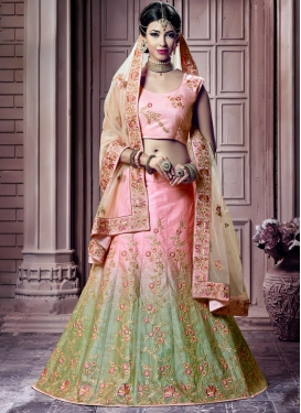 Mint Green and Pink Embroidered Work Trendy Lehenga