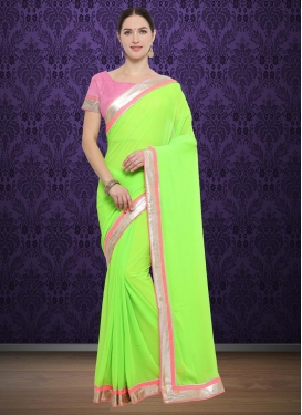 Mint Green and Pink Lace Work Classic Saree