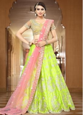 Mint Green and Pink Satin Silk A Line Lehenga Choli