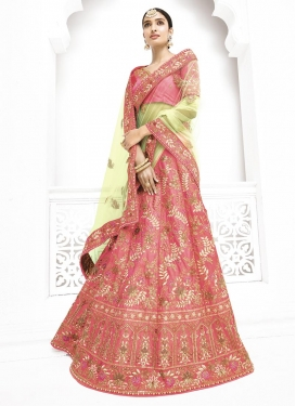 Mint Green and Pink Silk Trendy Lehenga