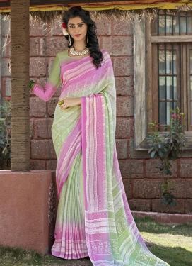 Mint Green and Pink Trendy Classic Saree
