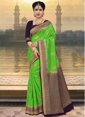 Mint Green and Purple Contemporary Saree