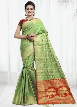 Mint Green and Red Banarasi Silk Contemporary Saree