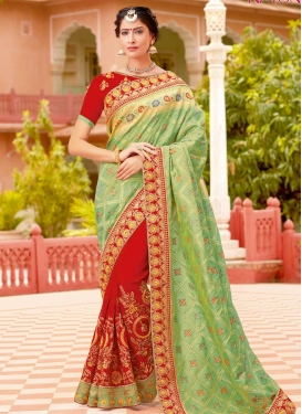 Mint Green and Red Designer Half N Half Saree For Festival