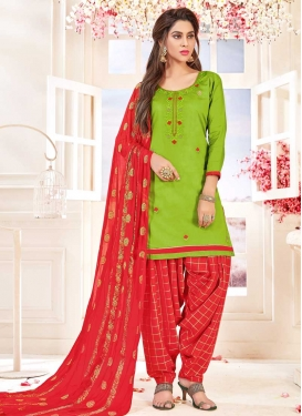 Mint Green and Red Designer Semi Patiala Suit