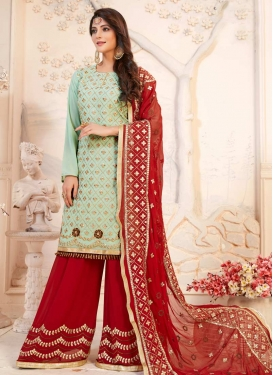 Mint Green and Red Faux Georgette Sharara Salwar Kameez
