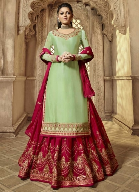 Mint Green and Red Kameez Style Lehenga Choli For Festival