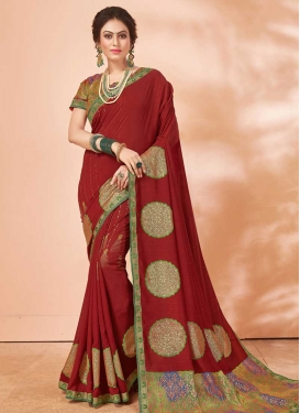 Mint Green and Red Lace Work Classic Saree