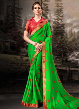 Mint Green and Red Lace Work Faux Chiffon Trendy Saree