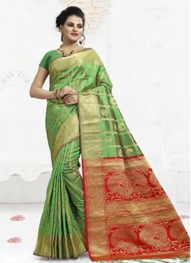 Mint Green and Red Thread Work Banarasi Silk Contemporary Saree