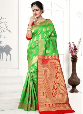 Mint Green and Red Thread Work Classic Saree