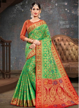 Mint Green and Red Thread Work Designer Contemporary Saree