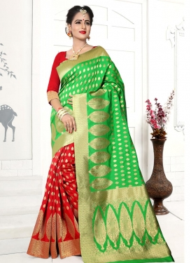 Mint Green and Red Thread Work Half N Half Trendy Saree
