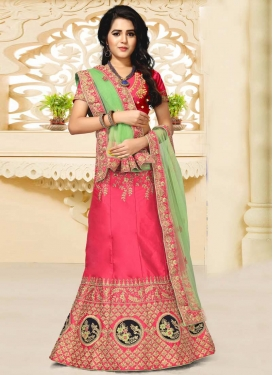 Mint Green and Rose Pink Art Silk A Line Lehenga Choli