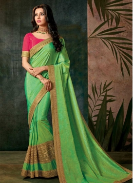 Mint Green and Rose Pink Art Silk Designer Contemporary Saree