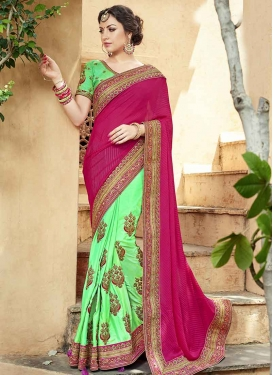 Mint Green and Rose Pink Brasso Georgette Half N Half Trendy Saree For Ceremonial