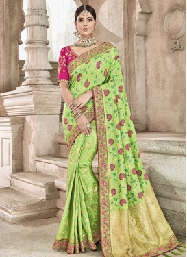 Mint Green and Rose Pink Contemporary Style Saree