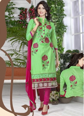 Mint Green and Rose Pink Cotton Trendy Churidar Salwar Suit