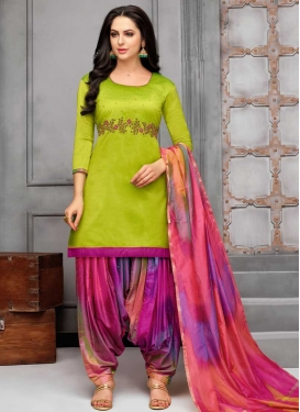 Mint Green and Rose Pink Designer Patiala Salwar Kameez For Ceremonial