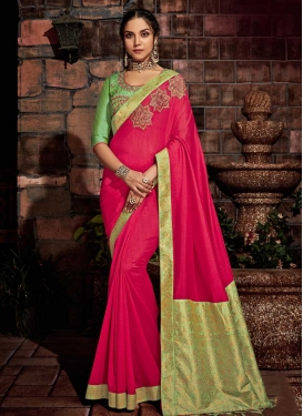 Mint Green and Rose Pink Designer Traditional Saree