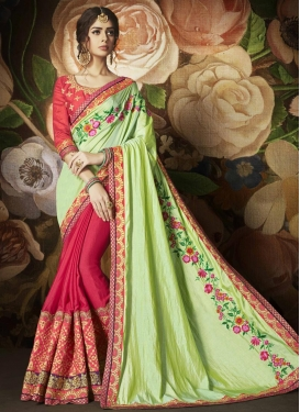 Mint Green and Rose Pink Embroidered Work Designer Half N Half Saree