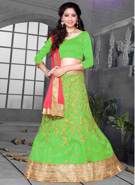 Mint Green and Rose Pink Embroidered Work Trendy Lehenga