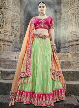 Mint Green and Rose Pink Jacquard Silk A Line Lehenga Choli For Festival