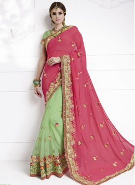 Mint Green and Rose Pink Net Half N Half Saree