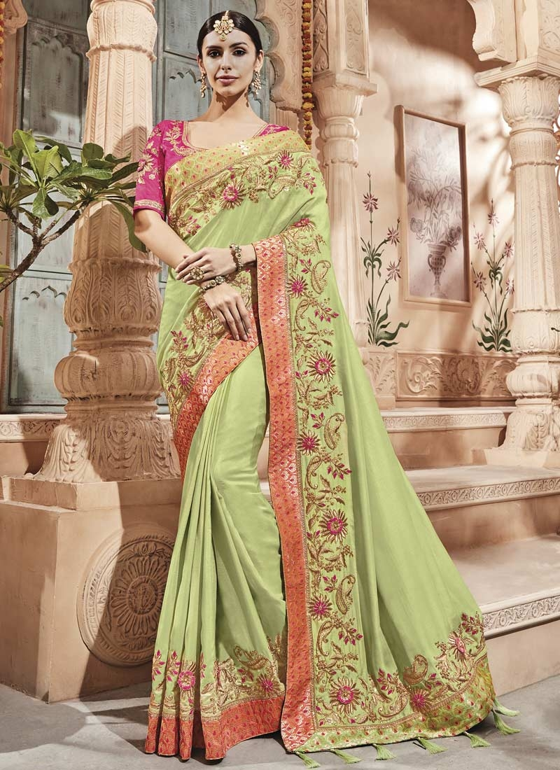 6affacafc59ae Buy Mint Green and Rose Pink Satin Silk Designer Traditional Saree ...