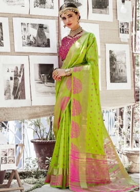 Mint Green and Rose Pink Thread Work Traditional Saree